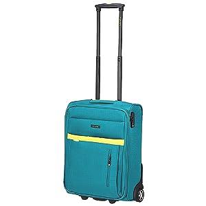 Travelite Notebook Koffer mit Rollen, aqua/citron (Blau) - 2047642
