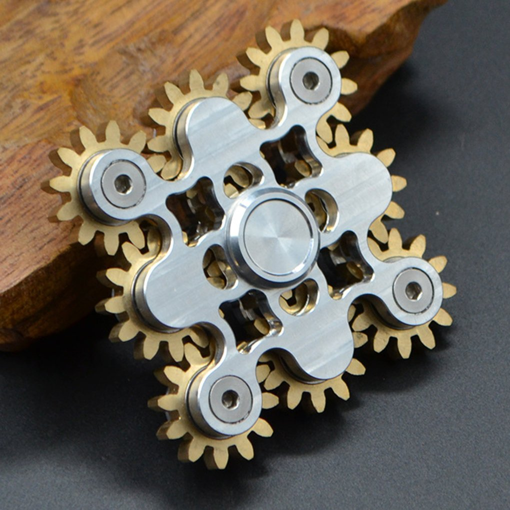 Hand Spinner Gears Linkage Design Fidget Gyro Toy Metal Fidget Spins Long Time EDC Focus Meditation Break Bad Habits ADHD With Premium Bearing (9 Gears White)