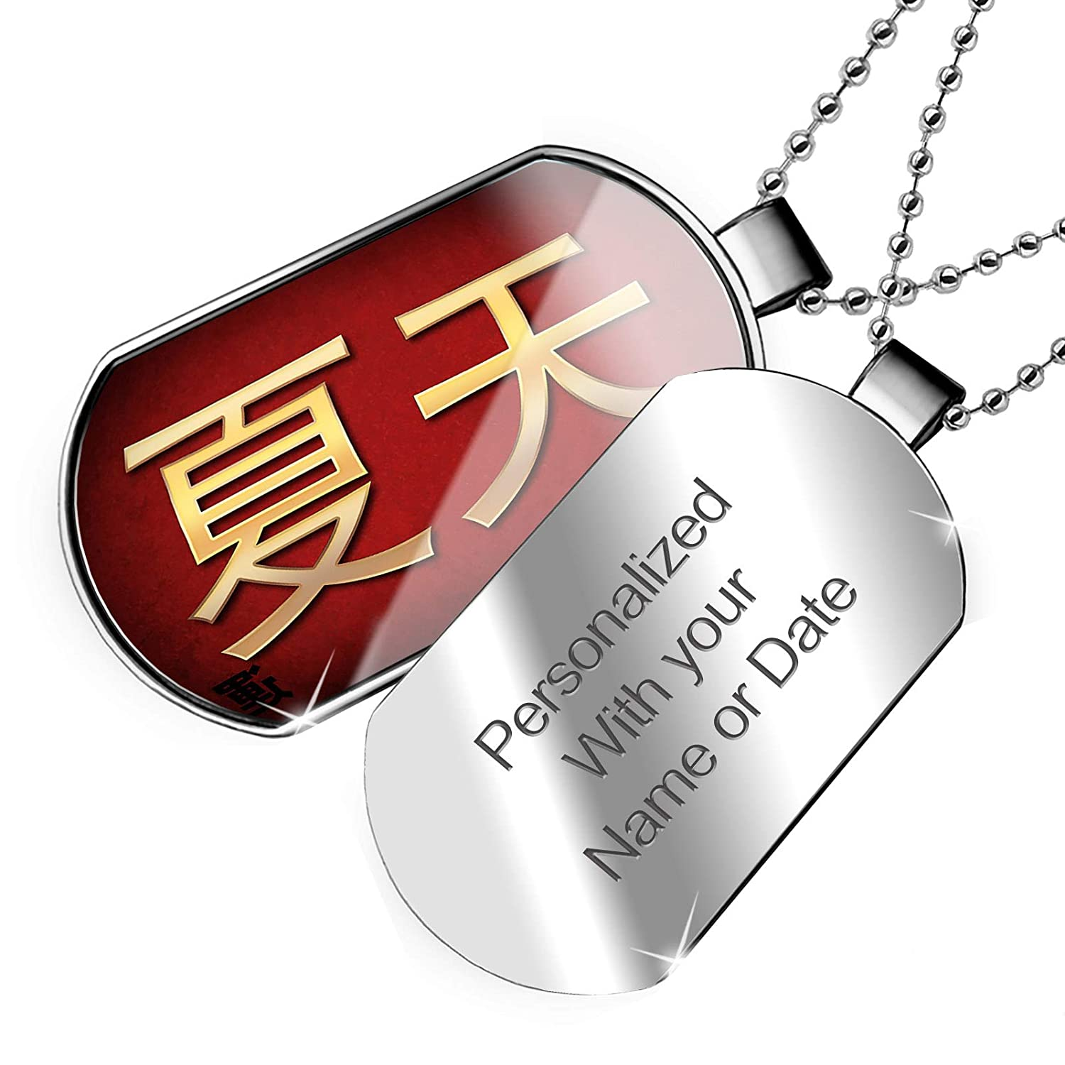 NEONBLOND Personalized Name Engraved Summer Chinese Characters Letter red//Yellow Dogtag Necklace