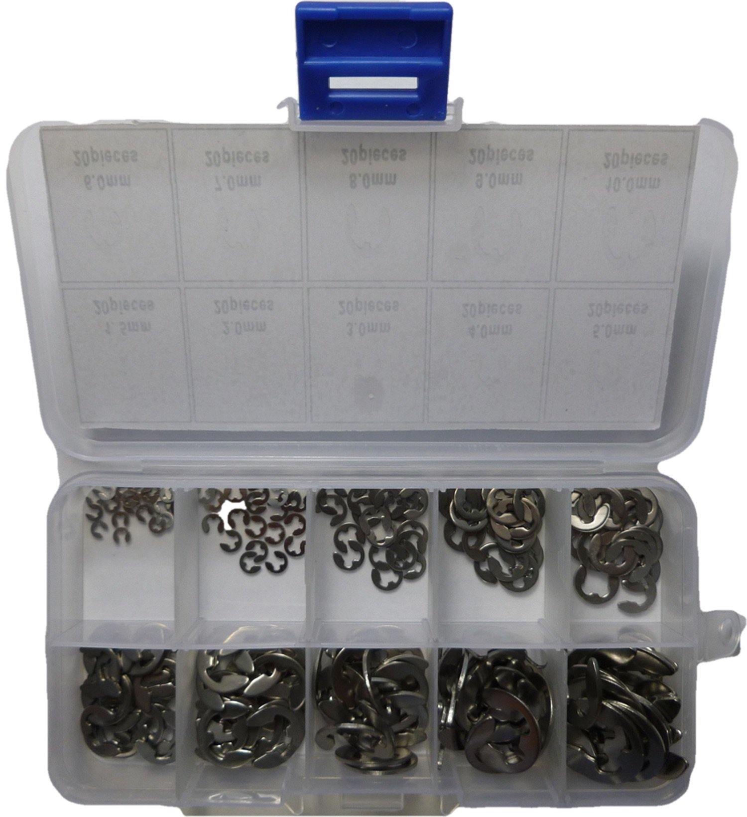 200 Piece Stainless Steel E Clip, Circlip, C Clip, Retaining Ring Assortment Pack