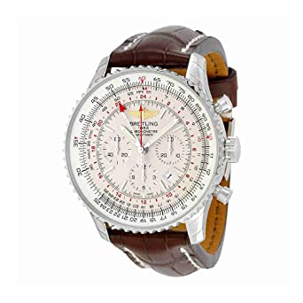 Amazon Com Breitling Navitimer Gmt Automatic Silver Dial Brown