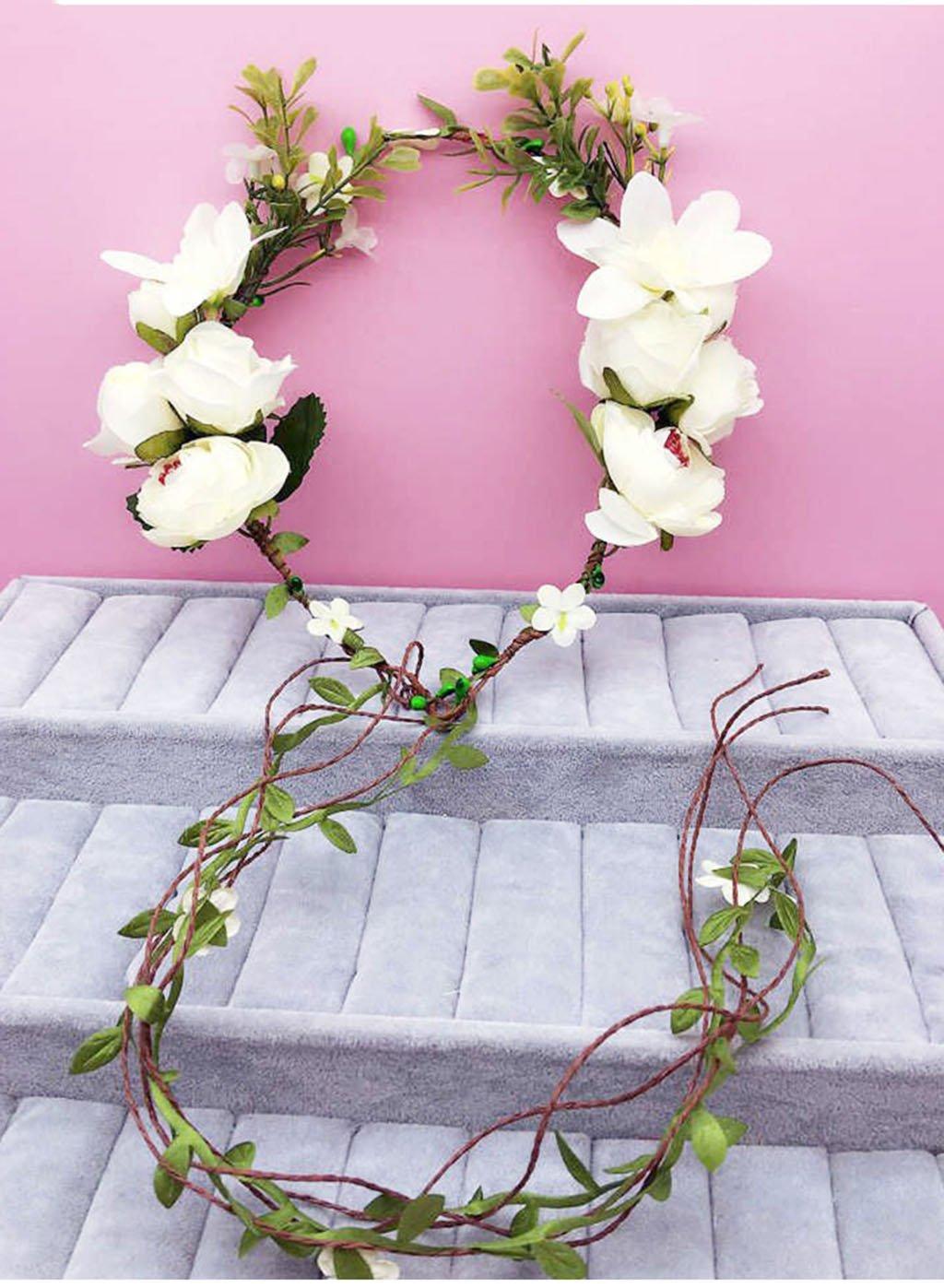 Wreath Flower, Headband Flower Garland Handmade Wedding Bride Party Ribbon Headband Wristband Hairband Red (Color : C)