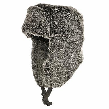 d004586c0bb RUSSIAN TROOPER Black Pilot AVIATOR Soft Faux Fur Hat Trapper Ushanka Men  and Women at Amazon Women s Clothing store