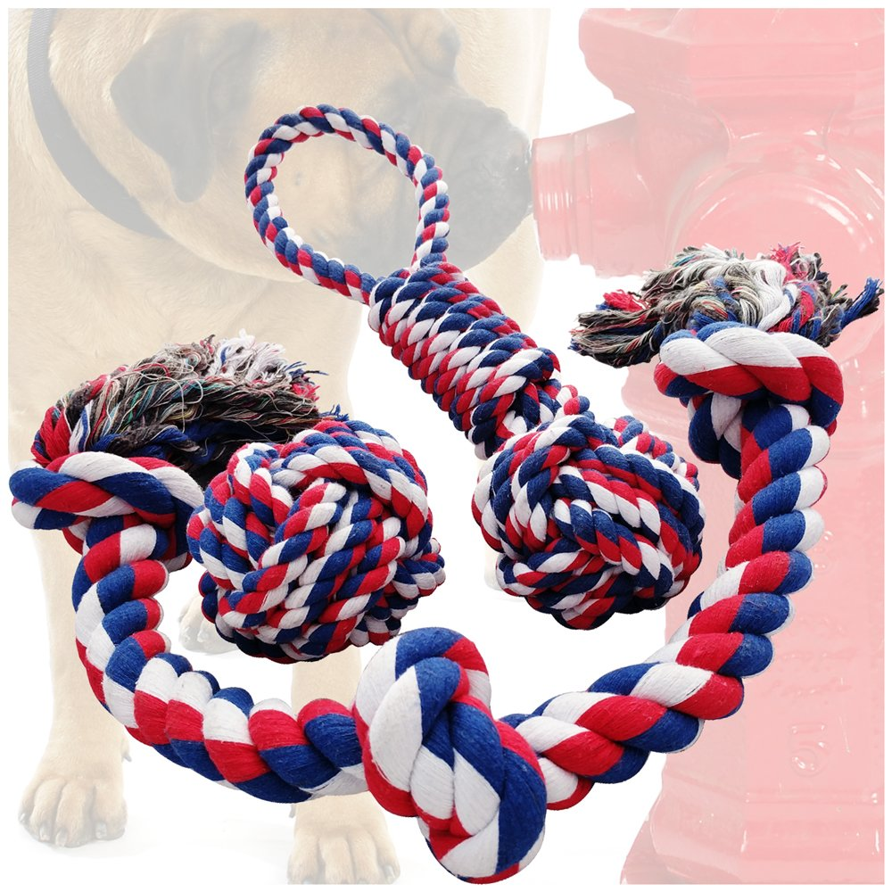 Otterly Pets Dog Toys (BIG SIZE 3-PACK) - 34-Inch 3-Knot, 13.5-Inch Handled Rope With Attached Ball, 4-Inch Ball - Tough Durable (Not Indestructible) Ropes Toy Set for Medium to Large Dogs