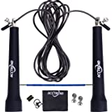 Acctrend Jump Rope Kit – Adjustable Steel Cable Skipping Rope With PU Coating, Wearable Tube & Lightweight Handles – Speed Jumprope For Fitness, Skip Training, CrossFit, Boxing Exercises, MMA Workout