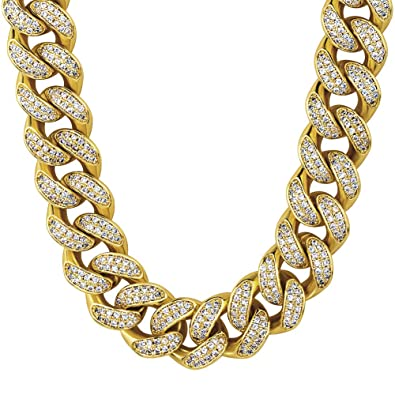 2cd6b010fbbcd KRKC&CO 12mm Cuban Link Chain, 14k Gold Iced Out Cuban Choker, Prong  Setting Hand-Selected 5A CZ Stones Cuban Chains, Size 18 20 24 Inches  Durable ...