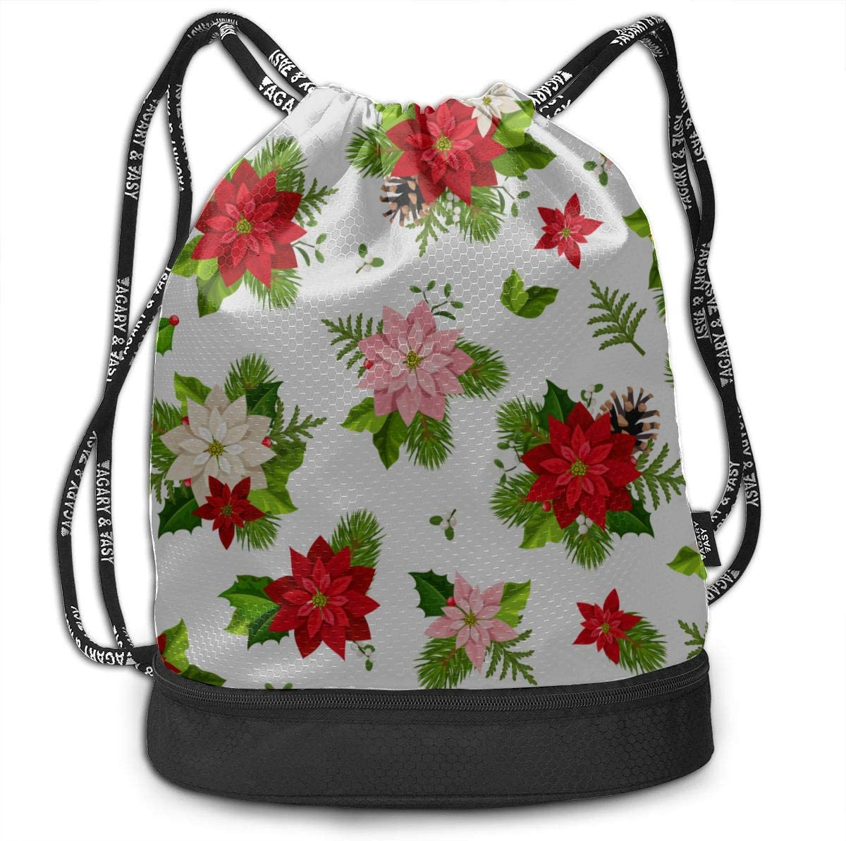 Womens Gym Bags Red Flower Poinsettia Gym Drawstring Bags Backpack Sports String Bundle Backpack For Sport With Shoe Pocket Gym Small Bag For Women