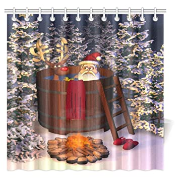 InterestPrint Christmas Decor Shower Curtain, Winter Holiday Cute Santa  Claus And A Reindeer In A