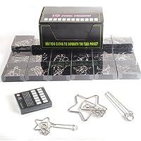 FOKOM 24pcs Calendrier de L'Avent Casse-têtes Puzzle Métal Porte-clés Jigsaw Jouet intellectuel pour Adulte/Enfants