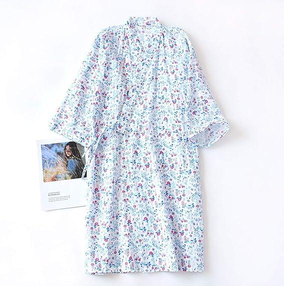 FEOYA Albornoz Algodón Mujer Verano Bata de Baño Kimono Estampado Yukata Japonés para Sauna Ropa de Dormir Vestido de Noche: Amazon.es: Ropa y accesorios