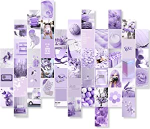 Purple Wall Collage Kit Aesthetic Pictures, 50 PCS Room Decor Aesthetic, Bedroom Decor for Teen Girls and Women, 4x6 inch Aesthetic Posters for Kidcore Wall Decor, Unique Removable Dorm Photo Display