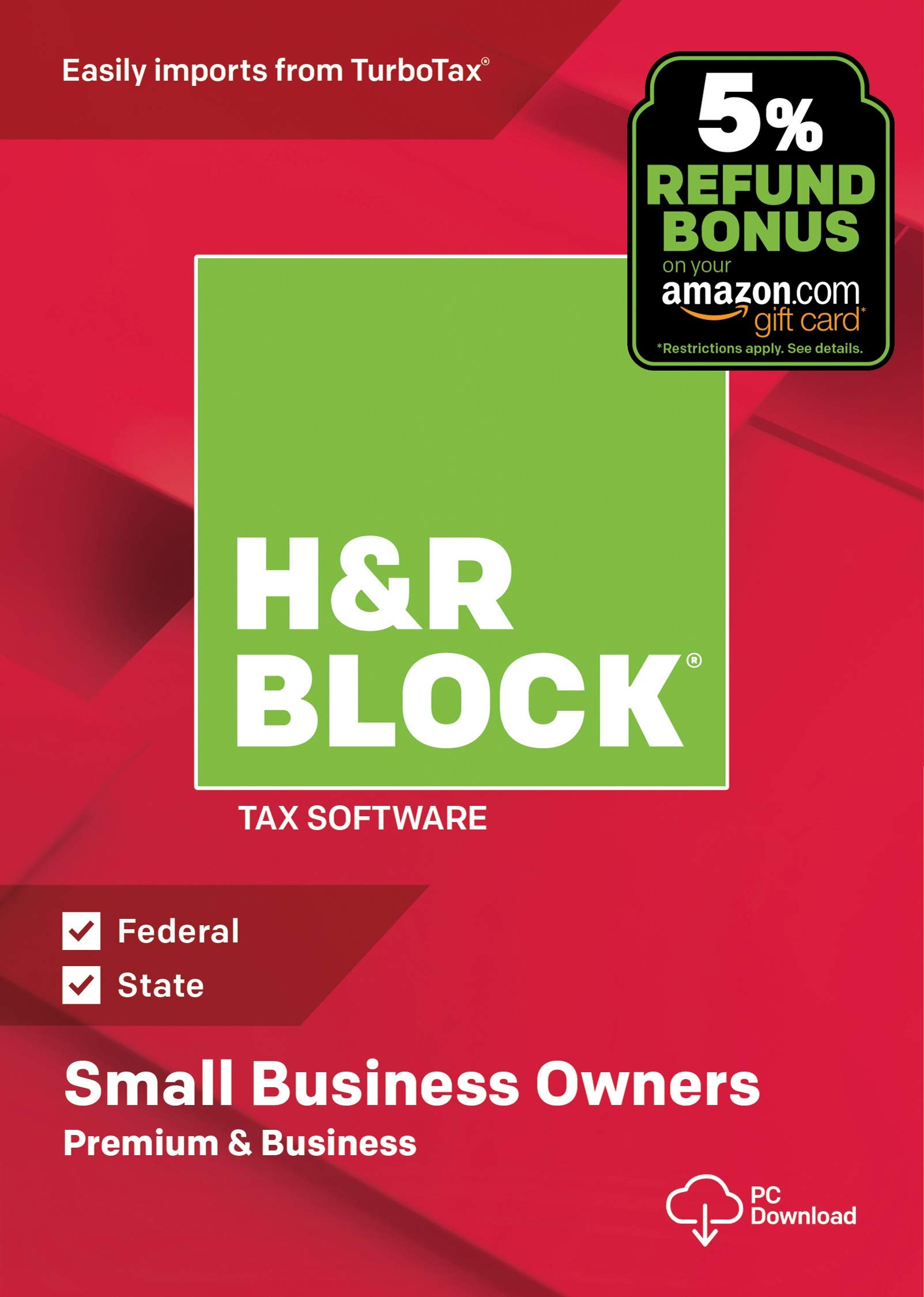H&R Block Tax Software Premium & Business 2018 with 5% Refund Bonus Offer [Amazon Exclusive] [PC Download] by H&R Block