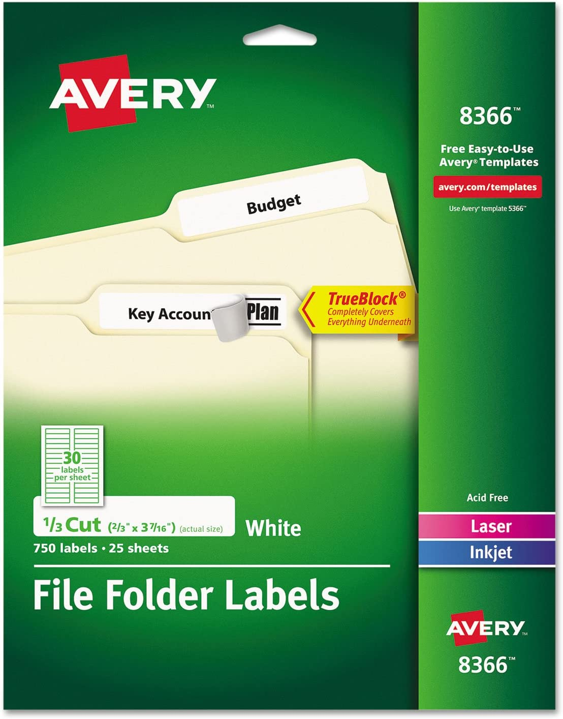Avery Permanent File Folder Labels with TrueBlock Technology : Filing Storage : Office Products