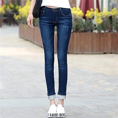 d2fc5594dc Amazon.com  spyman Fashion Plus Size 25-36 Women Two Cuffs Worn Female  Casual Trousers Pencil Pants Woman High Waist Korean  Clothing