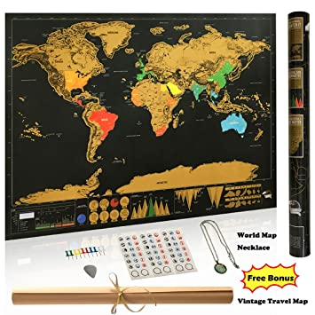 Amazon scratch off world map poster retro world wonders scratch off world map poster retro world wonders travel map print glossy travel tracker gumiabroncs Choice Image