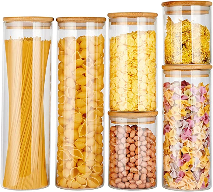 copdrel Glass Food Storage Jars Containers, Glass Storage Jar with Airtight Bamboo Lids Kitchen Glass Canisters For Coffee, Flour, Sugar, Candy, Cookie, Spice and More Set of 6