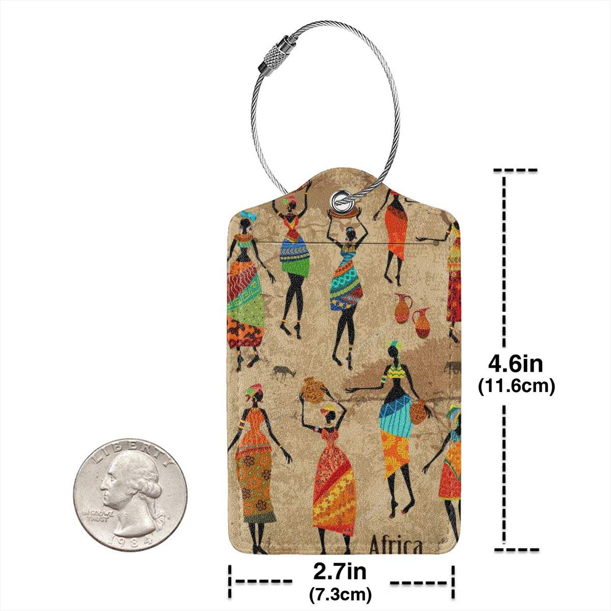 Leather Luggage Tag Vintage African Women Dance Ethnic Luggage Tags For Suitcase Travel Lover Gifts For Men Women 4 PCS