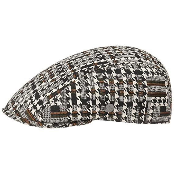 5ae3d9e4d07f44 Lierys Houndstooth Stripe Flat Cap hat Ivy: Amazon.co.uk: Clothing