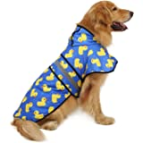 HDE Dog Raincoat Hooded Slicker Poncho for Small to X-Large Dogs and Puppies (Rubber Ducks, Large)