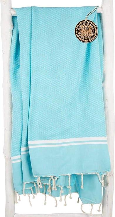 royale luxueuse drap de plage mod/èle unique de ZusenZomer 100/% coton de grande qualit/é Bleu clair avec blanc XL 100 x 190 cm Serviette de plage Fouta Drap de hammam DIAMANT fouta de plage