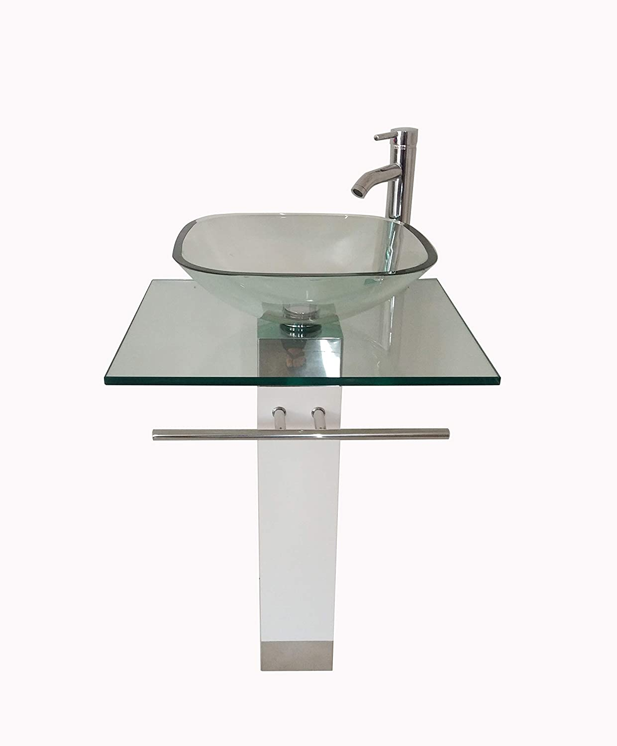 24 Bathroom Pedestal Vanity Glass Vessel Sink Set with Chrome Faucet Drain and Towel Bar included WHITE