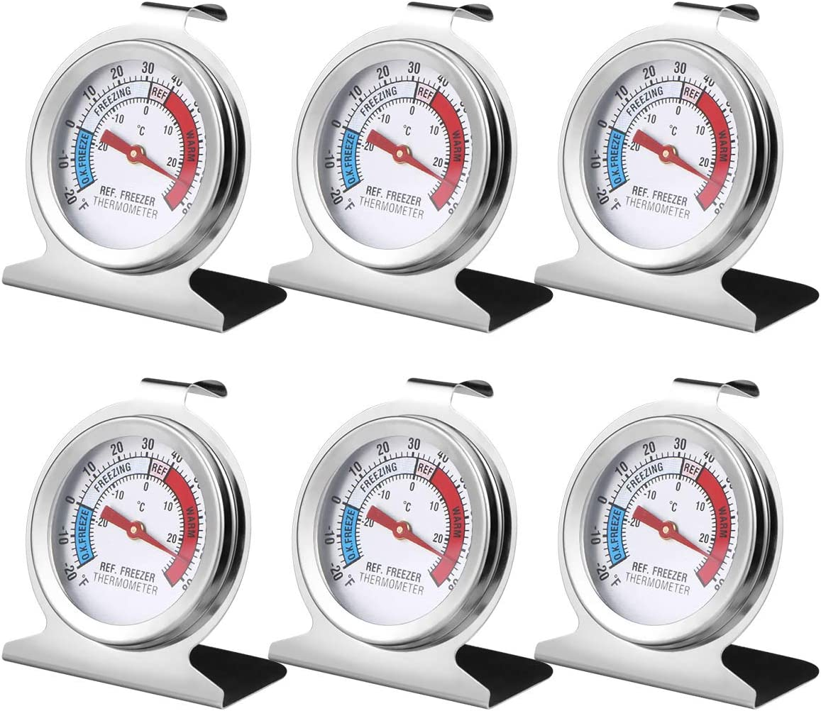 6PCS Refrigerator Freezer Thermometer - Refrigerator/Freezer/Fridge Temperature Cooler - Classic Series Large Dial Thermometer (6)
