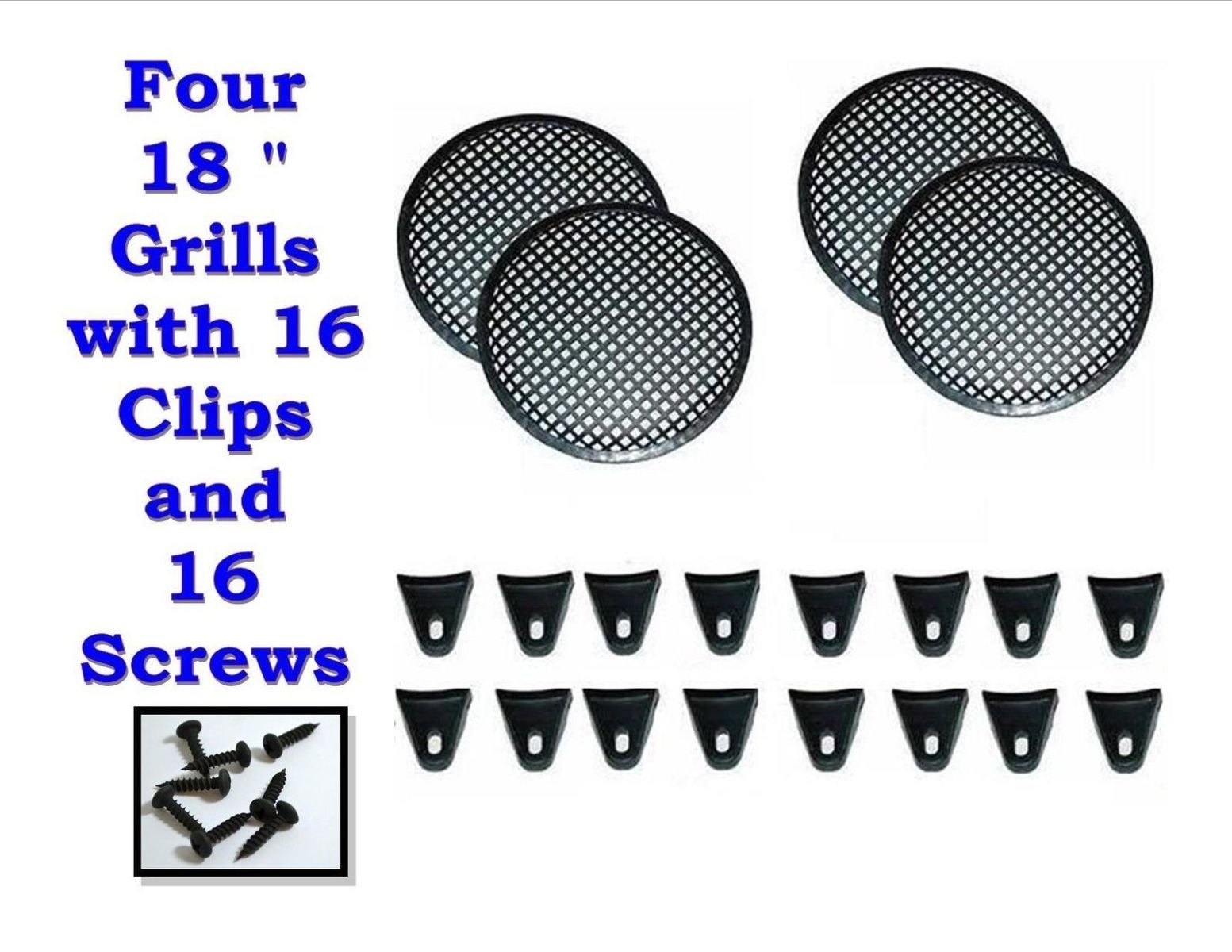 Audiopipe FOUR 18'' INCH WAFFLE SPEAKER SUB WOOFER GRILLS W/CLIPS & SCREWS DJ CAR GR-18 by Audiopipe