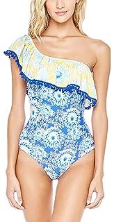 494c7d3dab22e MAXIMGR Womens One Shoulder Stripe Ruffle One-Piece Swimwear Backless  Swimsuit Monokini
