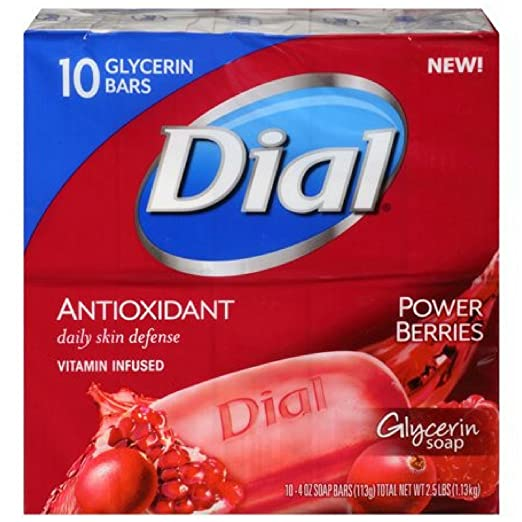 Dial Glycerin Bar Soap, Power Berries, 4 Ounce Bars, 10 Count