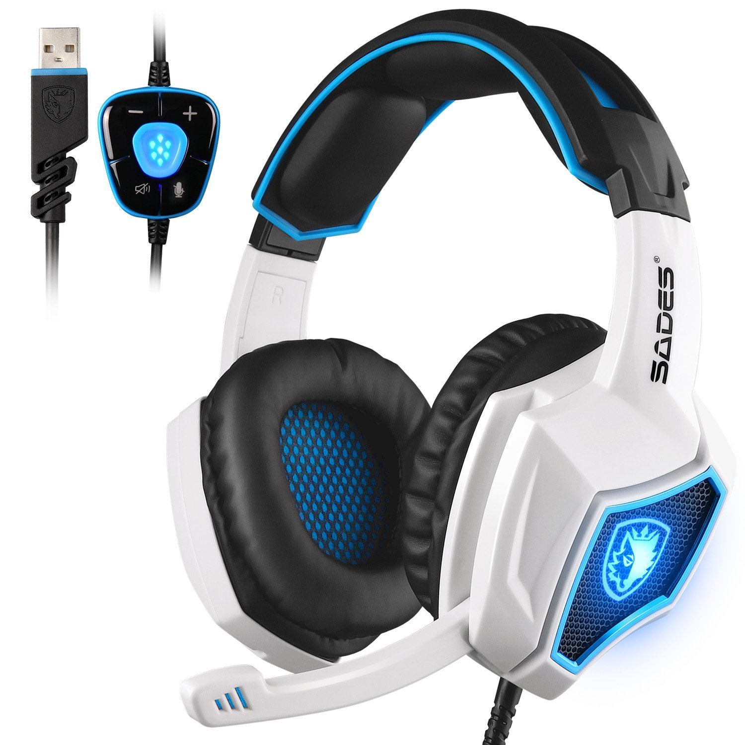 SADES Spirit Wolf 7.1 Surround Stereo Sound USB Computer Gaming Headset with Microphone,Over-the-Ear Noise Isolating,Breathing LED Light For PC Gamers (Black White) by SADES
