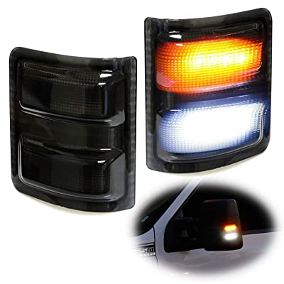iJDMTOY White/Amber LED Side Mirror Marker Lamps Compatible With 2008-16 Ford F250 F350 F450 Super Duty, (2) Smoked Lens, White LED Parking Light, Amber LED Turn Signal Light: Automotive