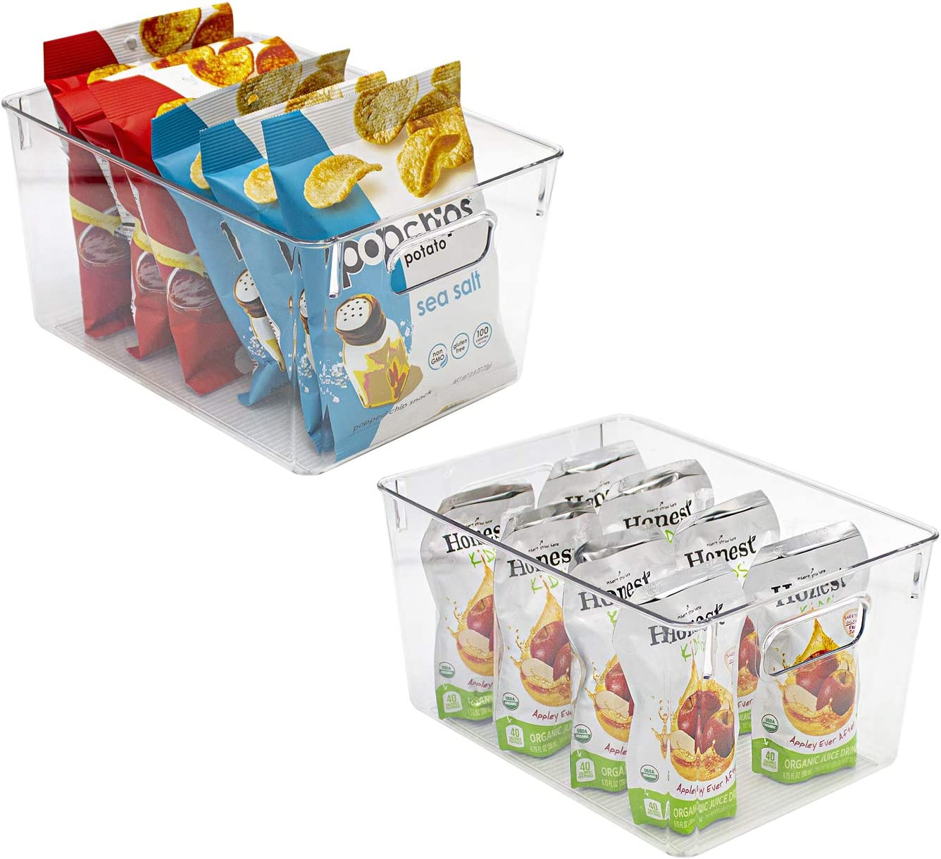 Sorbus Plastic Storage Bins Clear Pantry Organizer Box Bin Containers for Organizing Kitchen Fridge, Food, Snack Pantry Cabinet, Fruit, Vegetables, Bathroom Supplies (2-Pack)
