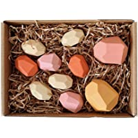Wooden Stacking Game, Wood Balancing Stones Rock Blocks Building Creative Toy Equilibrium Stacking Game Rainbow Color for Kids Babies Girls Boys