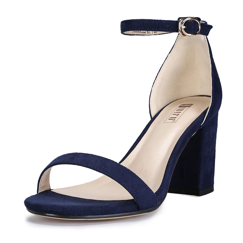 IDIFU Womens IN3 Cookie-MI Open Toe Mid Heel Chunky Block Ankle Strap Dress Sandals
