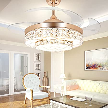 COLORLED Modern Crystal Ceiling Fan -42 Inch with Remote Control and Transparent Acrylic Retractable Blades and Lights for Living Room Bedroom Lighting Fan Chandelier Led Lights Fixture Gold