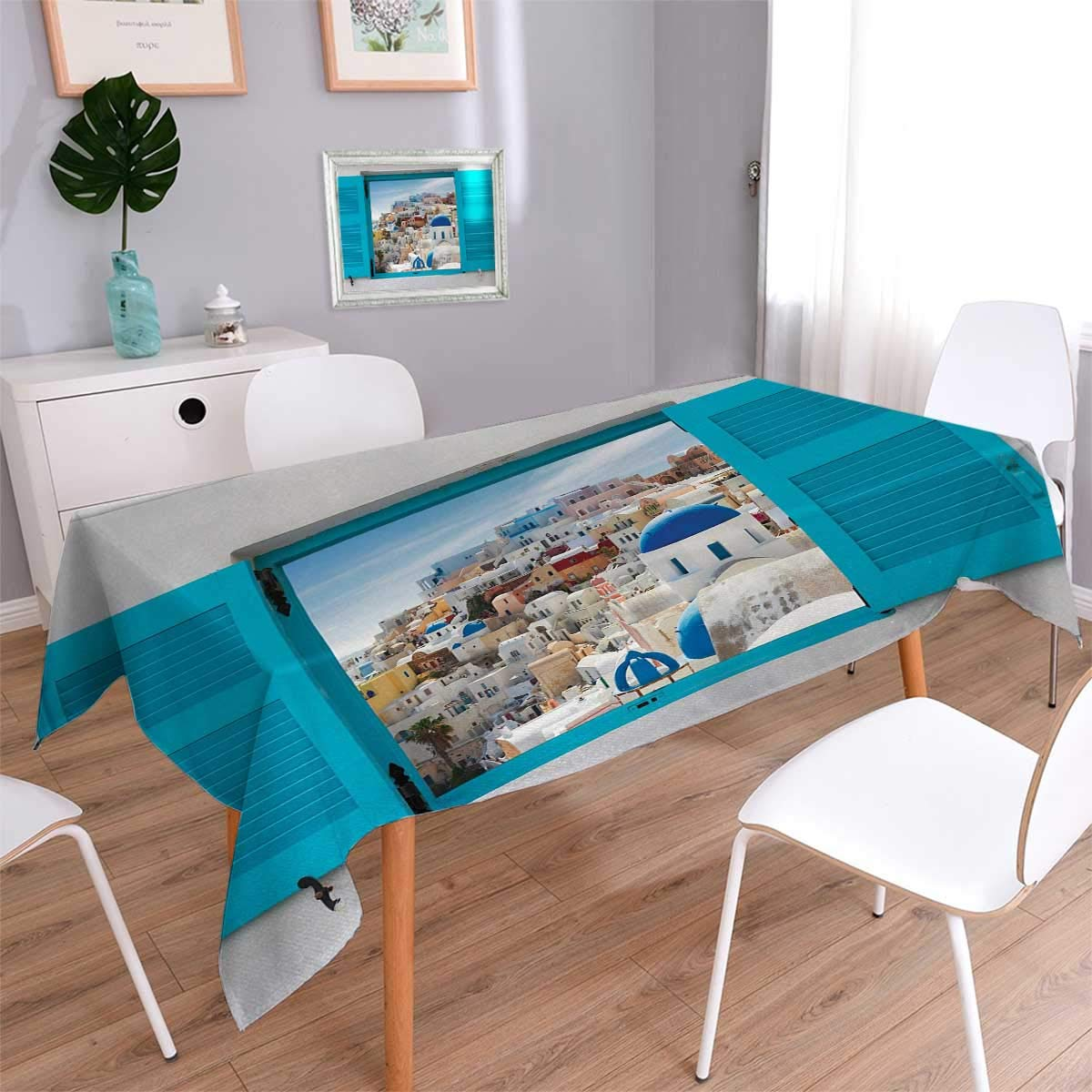Anmaseven European Oblong Dinning Tabletop Decor Old Shutters of Window with View of Traditional Greek Village Heritage Culture Table Cover for Kitchen Multicolor Size: W60 x L102