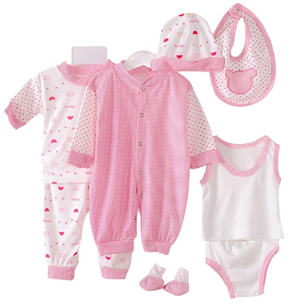 1Ensemble Pyjamas +1Gilet BOBORA 8PCs Ensemble Bebe Vetements en Coton 1Barboteuses 1Bib Pour 0-3M 1Bref 1Booties