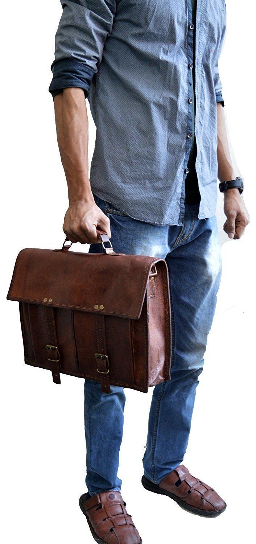 Vintage Handmade Leather Messenger Bag for Laptop Briefcase Best Computer Satchel School distressed Bag (18 INCH) by jsm (Image #4)