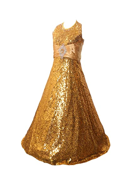 Stillluxury Sequins Girls Formal Dresses Flower Girl Dress Halter Pageant Ball Gown Gold Size 2