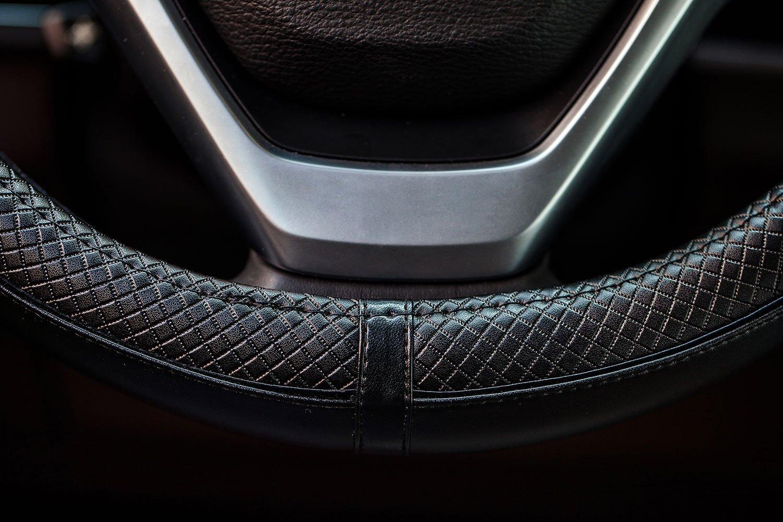 38/cm rev/êtement ultra r/ésistant en cuir v/éritable Noir. Housse de protection universelle pour volant de voiture antid/érapante