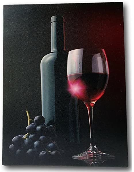 BANBERRY DESIGNS Wine Themed LED Canvas Print - Red Wine Bottle and Wine  Glass with Red Grapes Lighted Print - Radiance Lighted Canvas - Wine  Kitchen ...