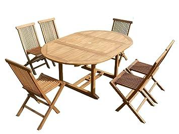 Salon de jardin en teck SWEETMIST ovale 6 chaises pliantes: Amazon ...