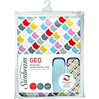 Sunbeam Ironing Board Cover | Reversible EasyGlide & Geo Print | 10mm Felt Padding | 100% Cotton | Machine Washable | Perfect Fit Up to 135cm x 45cm