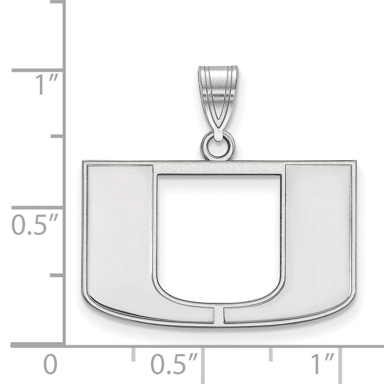 925 Sterling Silver Rhodium-plated Laser-cut University of Miami Medium Pendant