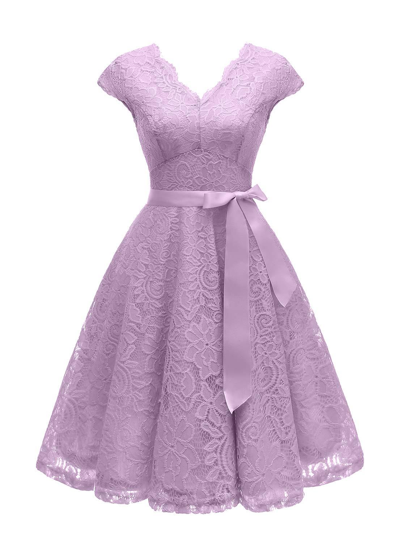 Vinvv Womens Short Vintage Floral Lace Dress V Neck Cap Sleeve Belt Bridesmaid Party Cocktail Dress Lavender 2xl