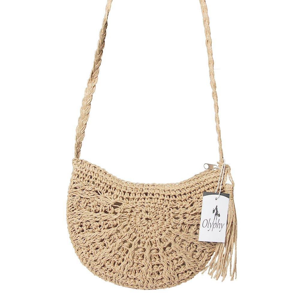 Olyphy Retro Crossbody Bag for Women, Woven Straw bag Envelope Shoulder Bag Handbag Summer Beach Purse (Beige)