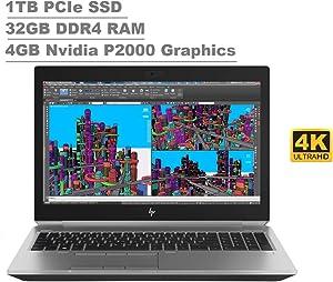 "2020 HP ZBook 15 G5 15.6"" UHD 4K Touchscreen (3840x2160) Mobile Workstatioptn Laop (Intel 6-Core i7-8850H, 32GB RAM, 1TB PCIe SSD, Quadro P2000) Thunderbolt 3, Fingerprint, Backlit, Windows 10 Pro"
