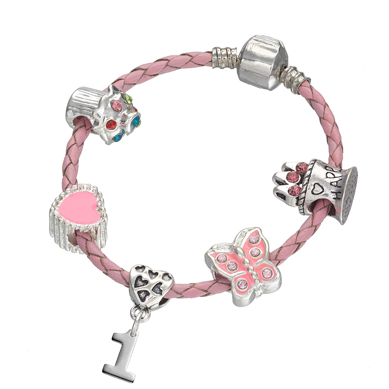 Girls /& Childrens Birthday Gift Jewellery Childrens Pink Leather Happy 1st Birthday Charm Bracelet With Lovely Jewellery Hut Gift Pouch