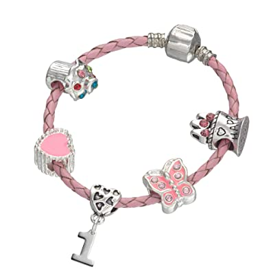 5d1143351 1st Birthday Pink Leather Charm Bracelet for Girls Presented in High Quality  Gift Pouch (15): Amazon.co.uk: Jewellery