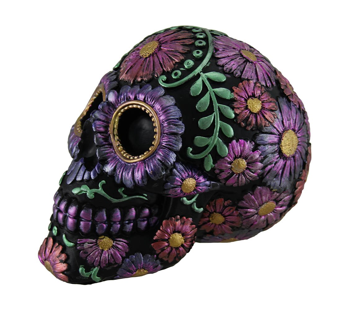 Zeckos Black and Purple Metallic Finish Day of The Dead Sugar Skull Coin Bank by Zeckos (Image #2)